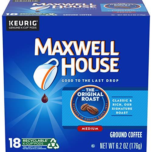 Maxwell House Original Roast Ground Coffee K Cups, Caffeinated, 18 ct - 6.2 oz Box (Pack of 4)