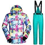 Tuta da Sci JSGJHXFDonna da Snowboard per Donna Nuovo Arrivo Abiti da Neve Impermeabile Antivento Giacca e Pantaloni da Sci per Lo Sport all'Aria Aperta Tute da Sci Invernali Marche, FW e Lago Blu, S