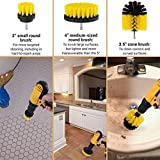 Cheston CH-CD1.2DRILLKIT Brush Power Scrub Electric Drill for Floor, Bathroom, Tile, Car, Grout, Kitchen and Other Cleaning (Yellow), 3 Pieces