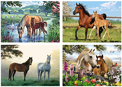 4 Pack 5D Full Drill Diamond Painting by Numbers Kits Supplies for Adults Kids Horses Tree Grass Home Wall Decor, 12X16 Inch (A Pack of 4 Sets)
