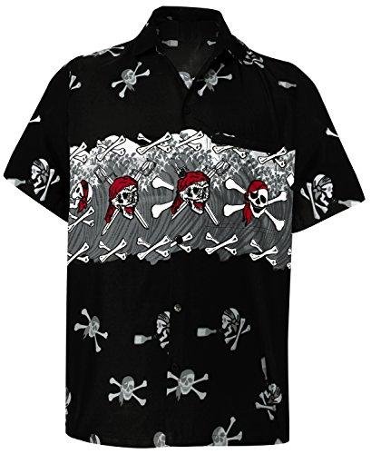 LA LEELA Casual Camisa de Hombre Hawaiana Manga Corta Bolsillo Delantero Playa Vintage Piratas Skeleton Esqueleto Calabaza Skulls Crneo Cosplay Disfraces De Fiesta De Halloween Costume Negro_W154 L