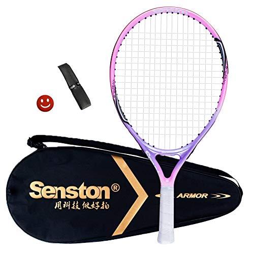 Senston Bambini 19 inch Racchetta da Tennis in Alluminio Racchetta da Tennis per Bambini/Junior con Borsa + Un Grip + Un antivibrante (Colore Casuale)