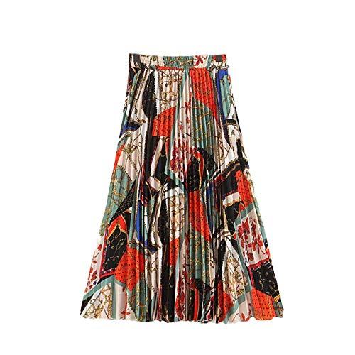 NHFGF Damen-Röcke mit Kettenmuster, für Sommer, Strand, schick, plissiert, Midi-Rock, Boho, Mädchen, hohe Taille Gr. 44, multi