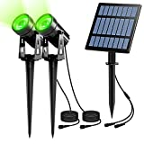 Led Solar Spotlights, PHADAP Solar Powered Security Lights,IP65 Waterproof Outdoor Landscape Light, Auto on/Off,In-ground/Wall Light for Garden,Patio,Driveway,Pond,Deck.(Green)