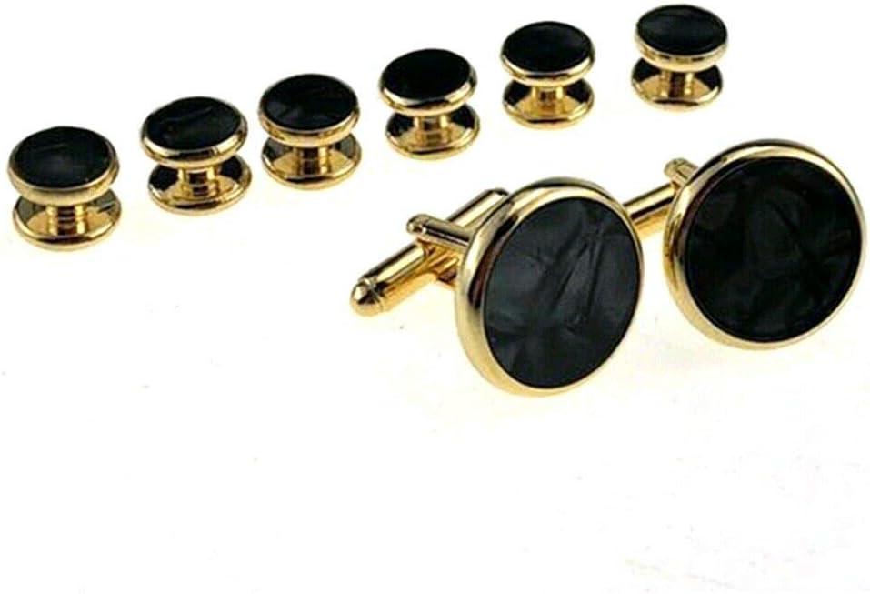 8Pcs/Set Mens Shirt Tuxedo Cufflinks Wedding Party Buttons Cuff Links Studs Black Shell Gold Plating