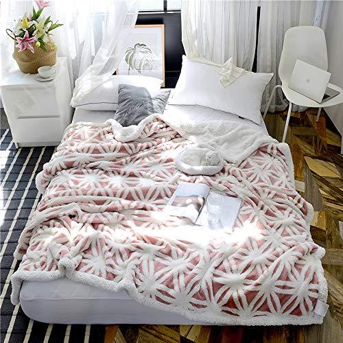 Manta de lana rosa, manta de cama súper suave de franela de microfibra de forro polar reversible manta súper cálida doble gruesa manta de poliéster manta de ocio sofá manta