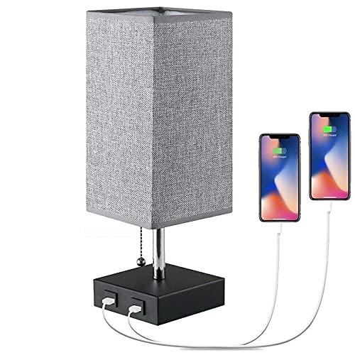 Zenghh Lámpara de mesa USB noche, lámparas con 2 puertos USB Carga Útil, de madera maciza mesa de noche de la lámpara con tela gris sombra perfecta for el dormitorio, sala de estar, sala de estudio (j