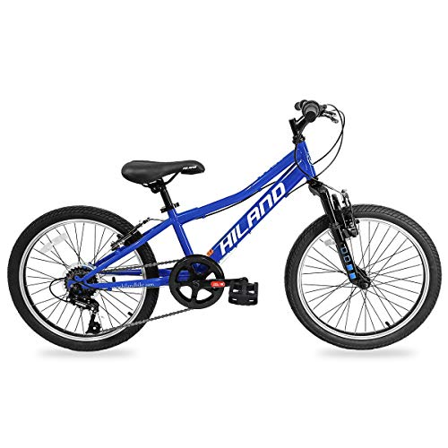 Hiland 20 Inch Kids Bike Mountain Bicycle with 6-Speed and Suspension Fork for Ages 4 5 6 7 8 9 Years Old Boys Girls Blue