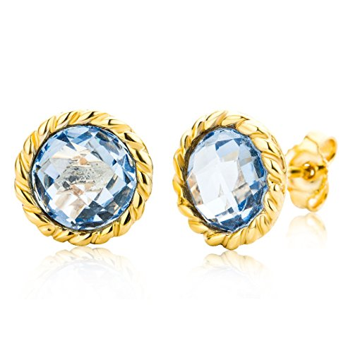 Miore Ladies 9 ct Yellow Gold Round Cut Blue Topaz Twisted Earrings