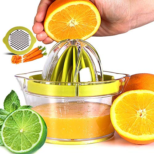 JinEamy-uk Lemon Orange Squeezer Manual Citrus Lime Squeezer Juicer, Hand Juicer, Fruit Squeezer Presser with Container & Filter Bag (Size : Light Green)