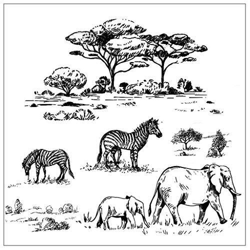 MEIKONG Zebra Elephant DIY Klar Silikonstempel Clear Stamp, Transparent Klar Silikon Stempel Für DIY Scrapbooking Album Foto Dekorative