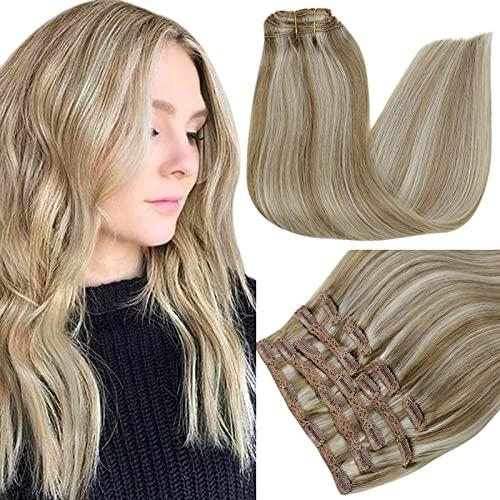 RUNATURE Clip in Extensions Echthaar 16 Zoll Haarverlängerung Farbe 8P60 Aschbraun Hervorgehoben mit Platinblond 100g 9 Stück Haarextension Echthaar Clips
