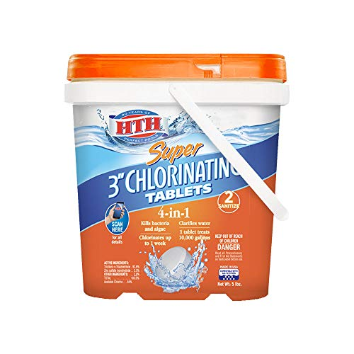 "HTH 42033 Super 3"" Chlorinating Tablets Swimming Pool Chlorine, 5 lbs"