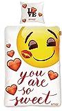 BERONAGE Original Emoji Wende Bettwäsche Sweet Hearts 135 cm x 200 cm + 80 cm x 80 cm Neu & Ovp - 100% Baumwolle - Emojis Wendebettwäsche