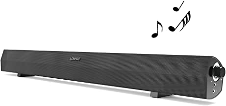 Sound Bar, 24 Inch TV Soundbar USB Wired Portable Home Theater 2.0 Channel Audio Speaker Stereo Sound with 3.5mm Port One-Button Control for Destop Laptop Tablet & TV