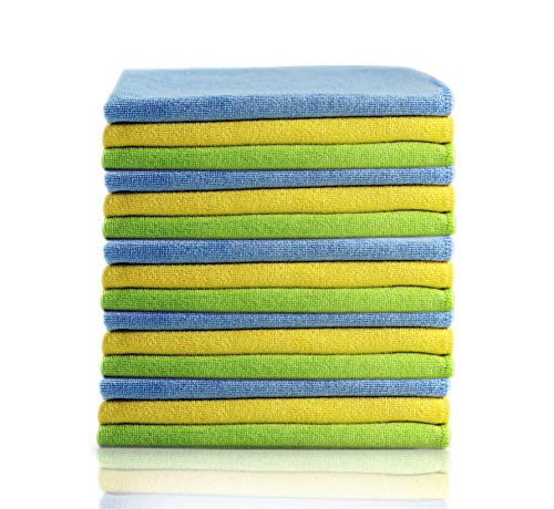 Glart - Bayetas de microfibra para limpiar el coche, suaves, absorbentes y sin pelusas, no rayan la pintura, 40 × 40 cm, azul, verde y amarillo (paquete de 15)