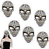 6 Máscara de Calavera Mexicana, Mascara Dia De Los Muertos Mujer, Máscara catrina flores mujer, Accesorios para Halloween Decoración