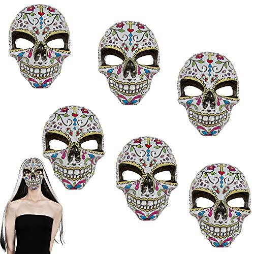 6 Mscara de Calavera Mexicana, Mascara Dia De Los Muertos Mujer, Mscara catrina flores mujer, Accesorios para Halloween Decoracin