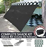 RV Awning Shade Motorhome Patio Sun Screen Complete Deluxe Kit (Black) (8'x16')
