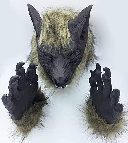 RIWGDA Máscara de cabeza de lobo de Halloween para fiestas