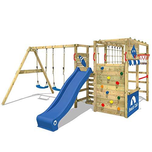 WICKEY Klettergerüst Spielturm Smart Zone mit Schaukel & blauer Rutsche, Gartenspielgerät mit Kletterwand & Spiel-Zubehör