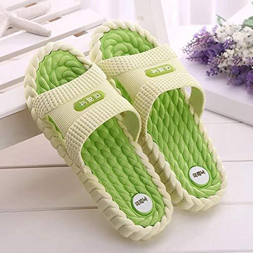 Wenhua Schlappen rutschfest Pantoffeln,Deodorant rutschfeste Hausmassage Hausschuhe, Sommerhaus Paar Hausschuhe, H Green_44Fußreflexzonenmassage Sandalen