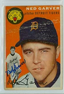 Ned Garver AUTOGRAPH D.17 1954 Topps #44 Detroit Tigers CREASE