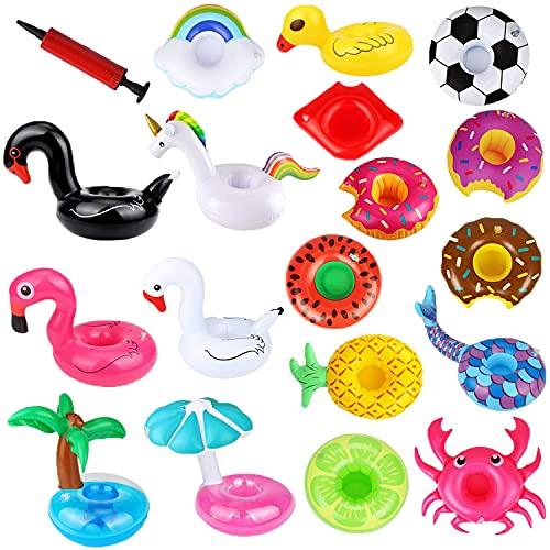 Welwoon Soportes inflables para bebidas, paquete de 18 soportes inflables para bebidas con mini bomba de aire, flotadores para bebidas inflables posavasos para niños juguetes y fiestas en la piscina