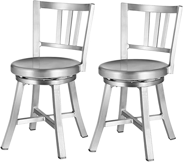 Renovoo Aluminum Swivel Dining Chair Pack Of 2 Commercial Quality Fully Assembled Brushed Aluminum Finish 18 Inches Seat Height Indoor Outdoor Use