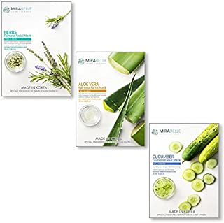 MIRABELLE KOREA Fairness Facial Mask (Herbs, Aloevera, Cucumber - HAC - COMBO PACK OF 3)
