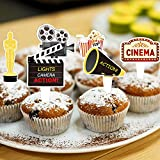 24 Pcs Movie Night Themed Cupcake Toppers for Birthday Party Decorations, Hollywood Party Supplies, Cinema Sign