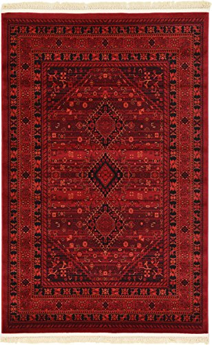 Unique Loom Tekke Collection Tribal Traditional Torkaman Red Area Rug (4' 0 x 6' 0)