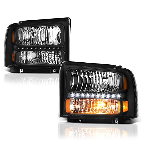 VIPMOTOZ Black Housing LED Strip DRL OE-Style Headlight Headlamp Assembly For 2005-2007 Ford F-250 F-350 Superduty Pickup Truck, Driver & Passenger Side