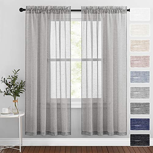 RYB HOME 2 Panels Grey Linen Voile Curtains for Bedroom - Semi Sheer Window Curtains Light & Airy Privacy Solid Drapes for Bay Window Sunroom Living Room Party, W52 x L72