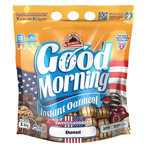 Max Protein - Good Morning Instant Oatmeal, Harina de avena, 1,5kg Donut (Pack 2 ud.)