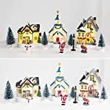innodept12 Christmas Village Set Collection Building - Christmas Church and House Light-up, 11 Pieces Set, Height 4' to 6' inch