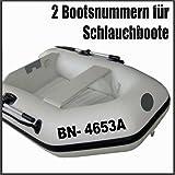 2 x amtliche Bootsnummern/ Bootskennzeichen Schlauchboote aus seewasserfester Hochleistungs Klebe Folie, viele Farben & Schriften zur Auswahl + gedruckte...