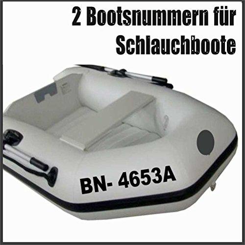 2 x amtliche Bootsnummern/ Bootskennzeichen Schlauchboote aus seewasserfester Hochleistungs Klebe Folie, viele Farben & Schriften zur Auswahl + gedruckte Montageanleitung von