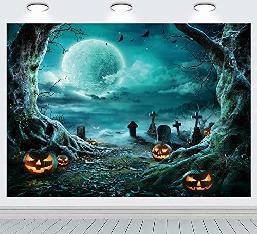 INRUI Fondo de fotografía de Halloween Horror Luna Noche aterrador Cementerio Calabaza Linterna telón de fondo para niños adultos familia fiesta cumpleaños decoraciones (verde)