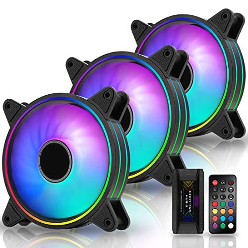 EZDIY-FAB Moonlight RGB Gehäuselüfter 120mm mit Lüfter Hub X und Fernbedienung,Motherboard Aura Sync, Geschwindigkeitsregelung, ARGB Computer lüfter für PC Gehäuse -3 Pack