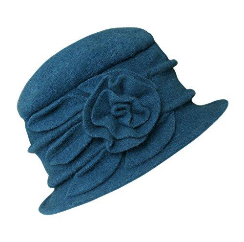 Urban GoCo Femme Elégante Printemps Chapeau Laine Casquette Vintage Fleur Béret Hiver Cloche (#1 Bleu Paon)