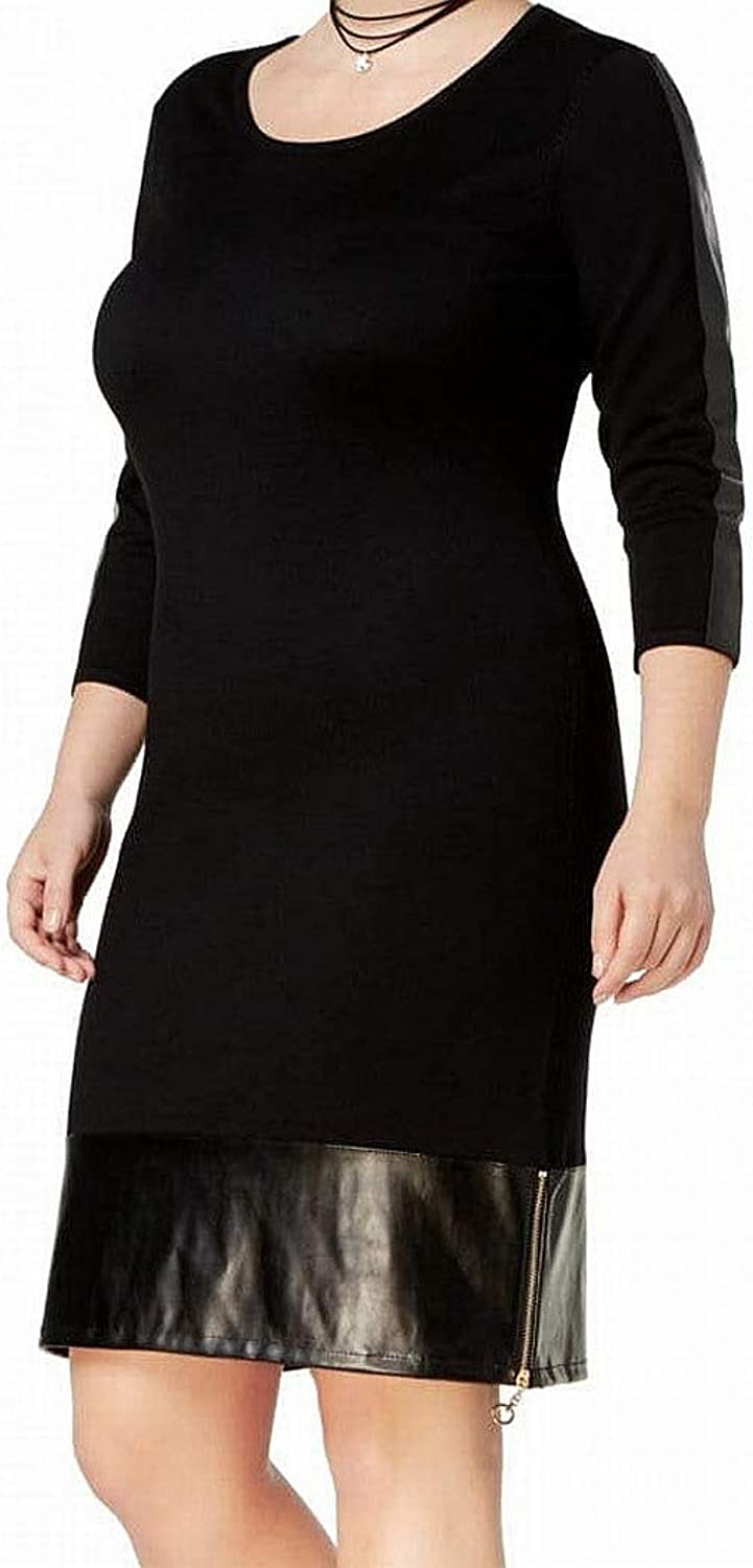 SayWhat Womens PlusSize FauxLeather Trim Sweater Dress Black 2X