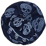 thb Richter Schal Tuch Totenkopf Schlauchschal Rundschal Loopschal Halstuch scarf Loop Skull (Loopschal-dunkelblau)