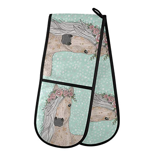 TropicalLife BGIFT Manopla de horno con diseño floral y caballo, doble guante de cocina resistente al calor, guantes de cocina acolchados de algodón, soporte para hornear a la parrilla, microondas y