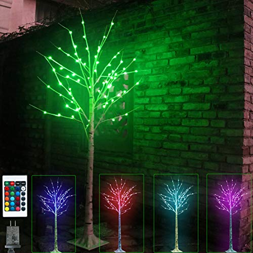 Lighted Colourful Birch Tree 16 Colors Changing Christmas Tree Lights Remote 5FT 72LED Artificial Pink Purple Green Branch Lights for Indoor Outdoor Holiday Porch Bedroom St Patricks Day Decoration