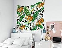 GOOESINGタペストリ居間/寝室のためのー熱帯の葉タイガーリリーとヒョウ柄パターンファッショナブルなタペストリー壁掛け装飾