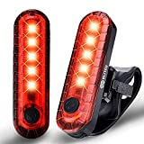 BLITZU Bike Tail Lights 2 Pack, Cyborg 120T Bright Red LED Bicycle Rear Light, USB Rechargeable, Waterproof Helmet Light, Cycling Flashlight Safety Reflectors Accessories, Fits Adult & Kids MTB Bikes