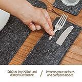 Miqio® – Design 12 teiliges Premium Platzset – Filz und Leder- für 4 Personen, waschbar, je 4 Tischsets, Glas-Untersetzer, Bestecktaschen (dunkelgrau anthrazit) - 6