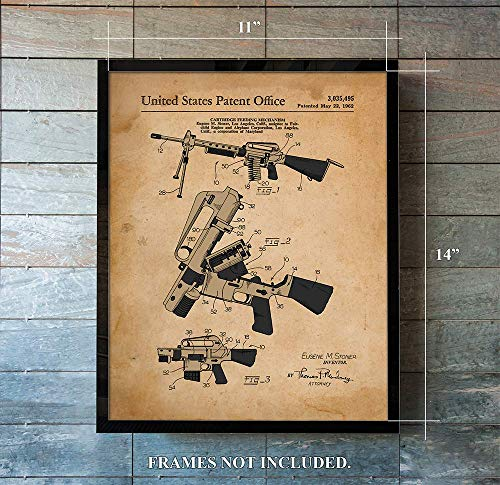 AR 15 Patent Prints from 1962 - Unique - 11 x 14 rt Wall Decor - Great Gift for Collectors, Gun Enthusiast (A)