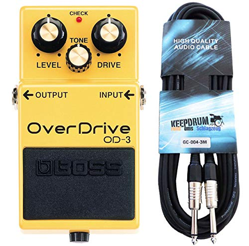 Boss OD-3 Overdrive - Pedal y cable para guitarra Keepdrum (3 m)